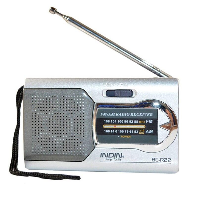 INDIN Silver Mini Telescopic Antenna Am / Fm Portable World Slim Pocket Receiver