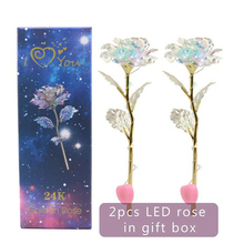 2 Sets LED Light Crystal Rose Flower Kit for Anniversary Valentines Day Hot Sale