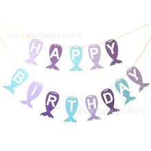 1set Mermaid Happy Birthday Banner Ocean Theme Party Bunting Child Toy Supplies