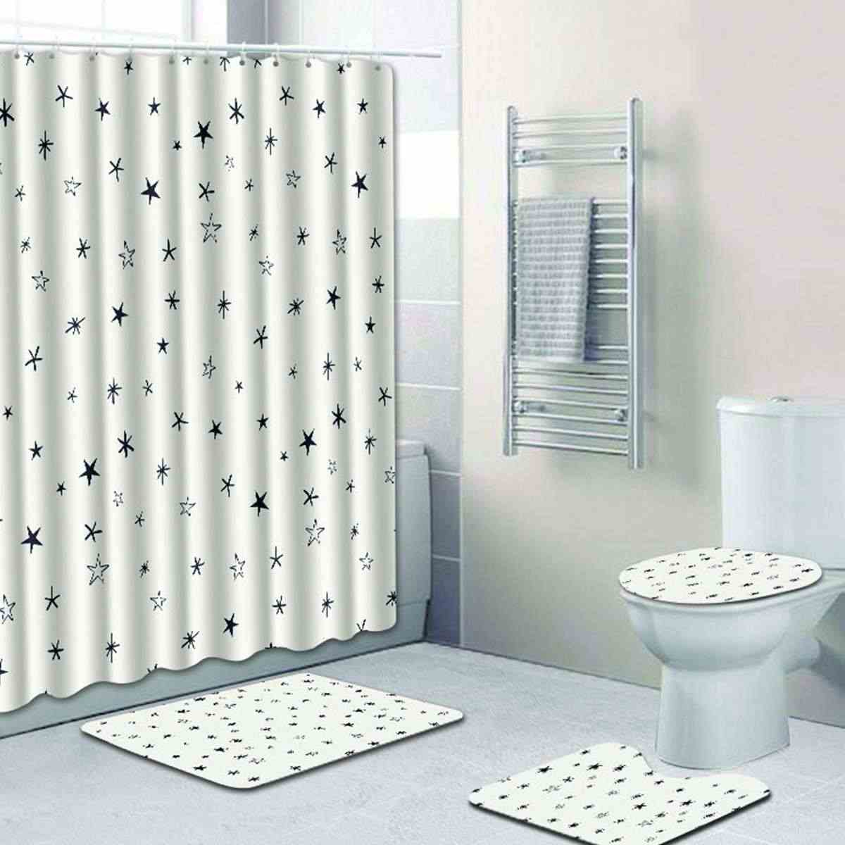 Bath Mat Shower Curtain Bathroom