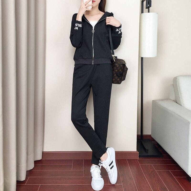 Femmes gray Automne Survêtement À Pièces Et Grande Deux Capuchon Hauts 2019 Harajuku Ensemble Taille Sport De Costume Black Streetwear Pantalons 8Bfqq4