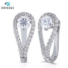 DovEggs Genuine 14K White Gold 585 Center 0.5ct 5mm F Color Moissanite Halo Hoop Earring for Women Huggie Earrings with Accents