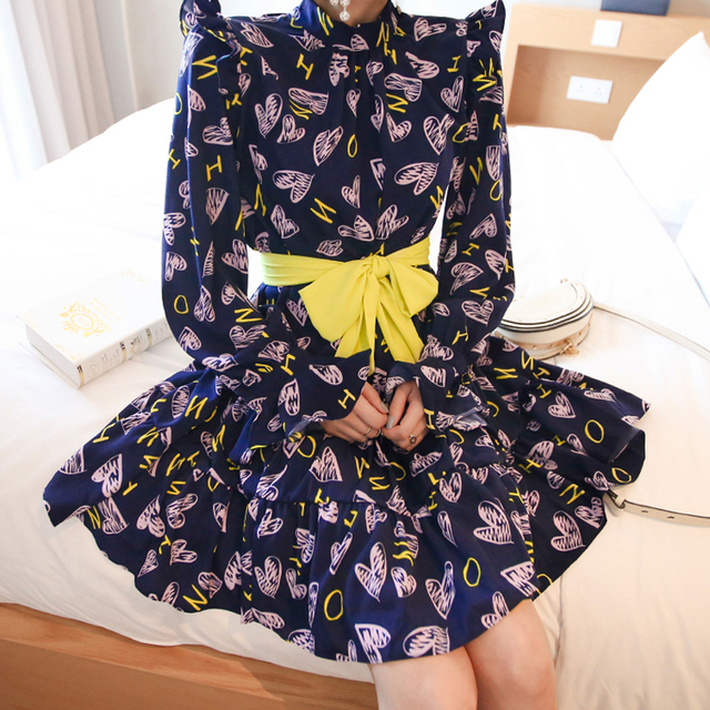 CINESSD Sexy Elegant Flower Print for Women halloween Dresses Long Sleeve Polyester Stand Neck Casual Party Vestidos Plus Size 3