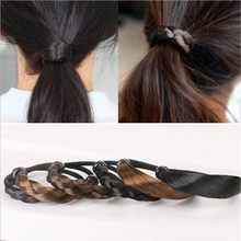 Fashion Braided Hair Band For Women Pigtail Type Rubber Bands Korean Style Hair Ring For Girl Hair Extension Ponytail Holder(China)