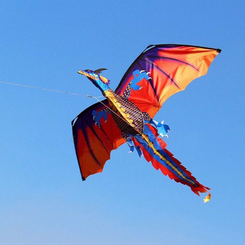 Hot 3D Dragon Kite Single Line With Tail Kites For Adult Kite Flying Outdoor Sports 100m Kite Line Dinosaur New