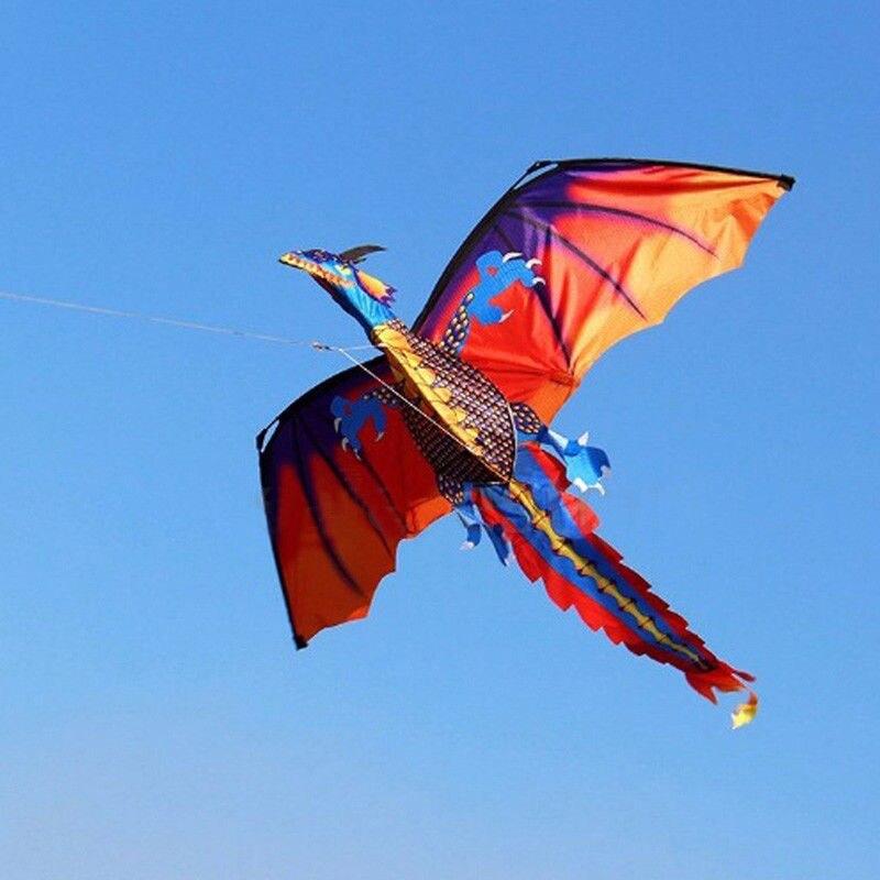 Quente 3d dragão kite única linha com cauda pipas para adulto pipa voando esportes ao ar livre 100m linha de pipa dinossauro novo