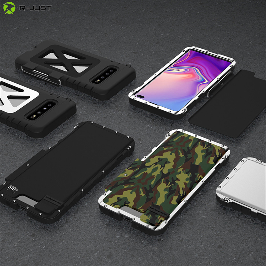 R-JUST Stainless Steel Flip Case for Samsung Galaxy S10 5G S9 S8 Plus Iron Man Shockproof Stand Cover for Samsung Note 9 8 7 S7