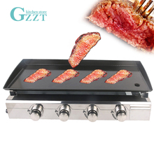 GZZT 4 Burners Gas BBQ Grill Gas Plancha Griddle Plate Enamel Cooking Plate LPG Gas Griddle Iron BBQ Grill CE 220v commercial stainless steel all flat grill griddle bbq plate electric contact grillplate