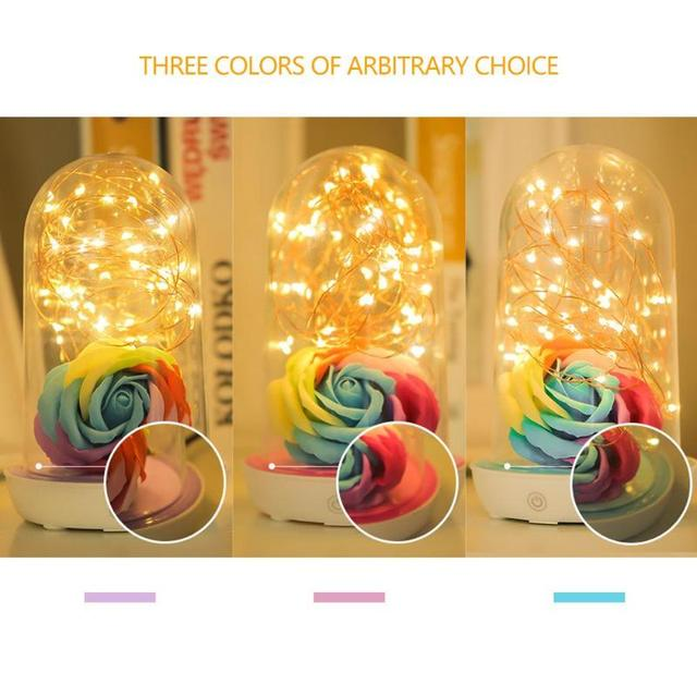Romantic Rose Flower LED Lamp USB Charging Valentine Day Home Room Night Light Desk Table Ornament Decorations