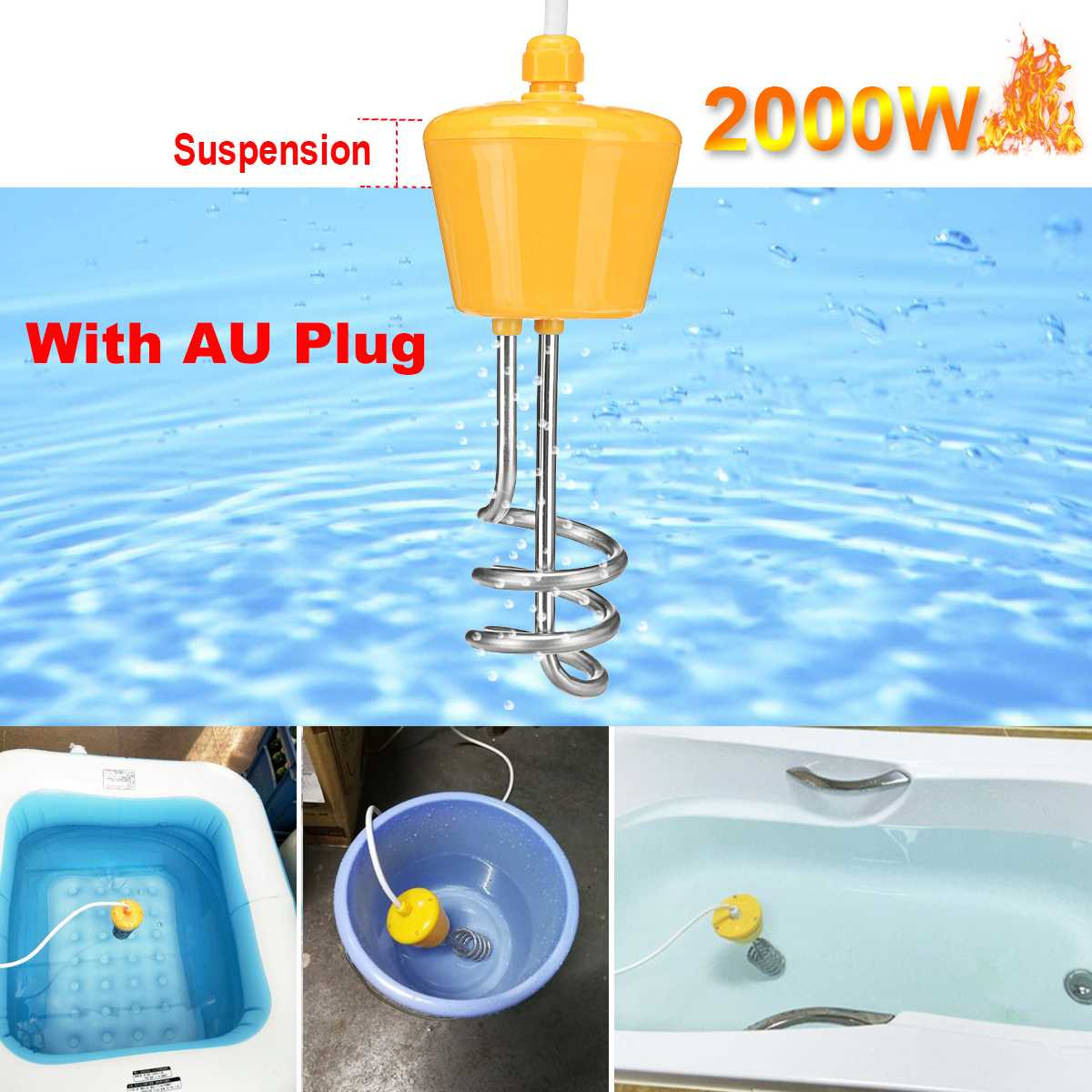 2000W 220V Portable Suspension Stainless Steel Electric Floating Immersion Heater Boiler Water Heating Element For Bathroom Home2000W 220V Portable Suspension Stainless Steel Electric Floating Immersion Heater Boiler Water Heating Element For Bathroom Home
