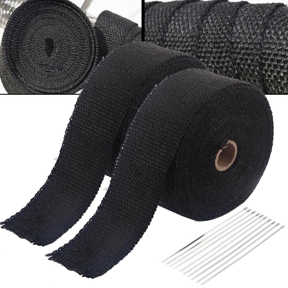 Exhaust Heat Wrap 2x 10M Exhaust Header Pipe Heat Wrap Tape Protection Band with 20 Ties