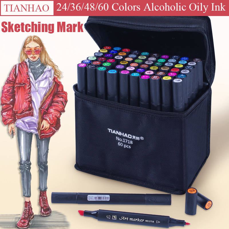 TIANHAO 24/36/48/60 Colors Art Marker Set Dual Headed Sketch Markers Brush Pen For Draw Manga Animation Design Art Supplies