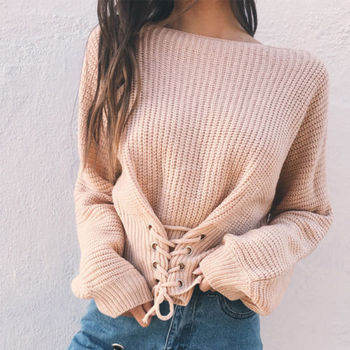 Sexy Bandage Lace Up Sweater Women Round Neck Long Sleeve Oversized Loose Knit Pullover Jumper Sweater Knitwear Tops Outwear eyelet lace up staggered jumper