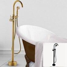 Antique Black Bronze Floor Stand Bathtub Faucets with Hand Shower Floor Standing Bath Faucet Single Handle Mixer Tap