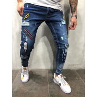 Stylish Men Ripped Jean 2019 Skinny Jeans Zipper Jean
