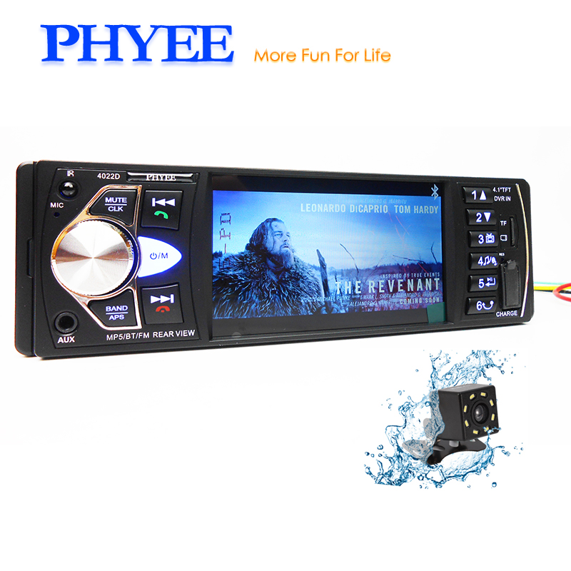 1 Din Car Radio Bluetooth 4.1 Autoradio MP5 Stereo Video Multimedia Player MP3 USB TF Aux Camera In-dash Head Unit PHYEE 4022D1 Din Car Radio Bluetooth 4.1 Autoradio MP5 Stereo Video Multimedia Player MP3 USB TF Aux Camera In-dash Head Unit PHYEE 4022D