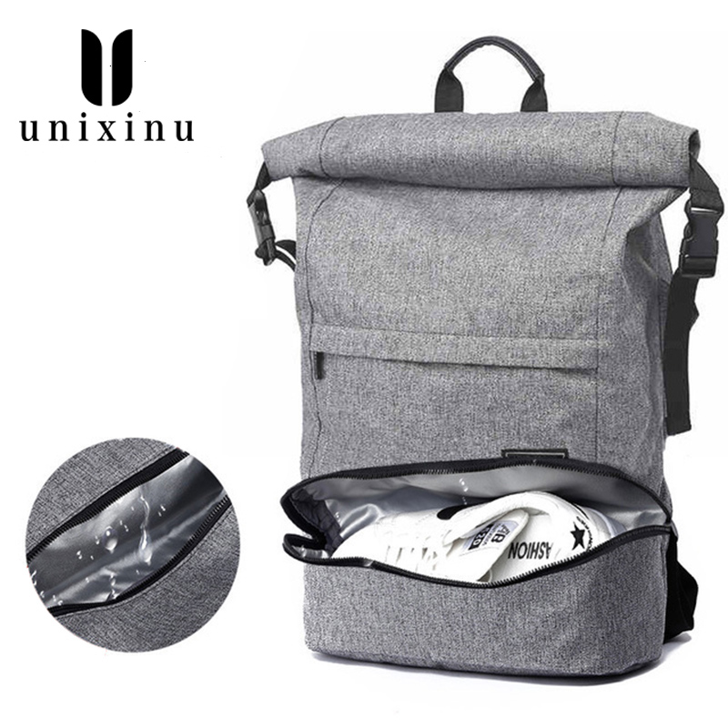 Gym Backpack Canvas Waterproof Backpacks 35l Fitness Bag Men Woman Sport Bag Separate Space For Shoes Yoga Sports Bags