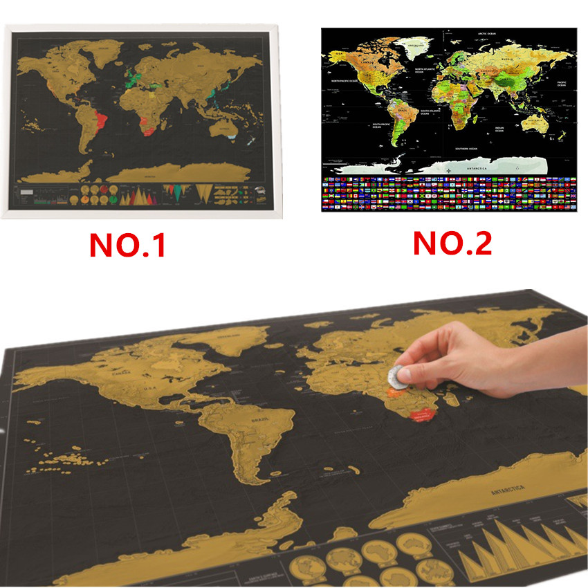 Scratch Off  World Map Personalized Travel Scratch Map Deluxe Erase World Map Room Home Decoration Education Toy For Children