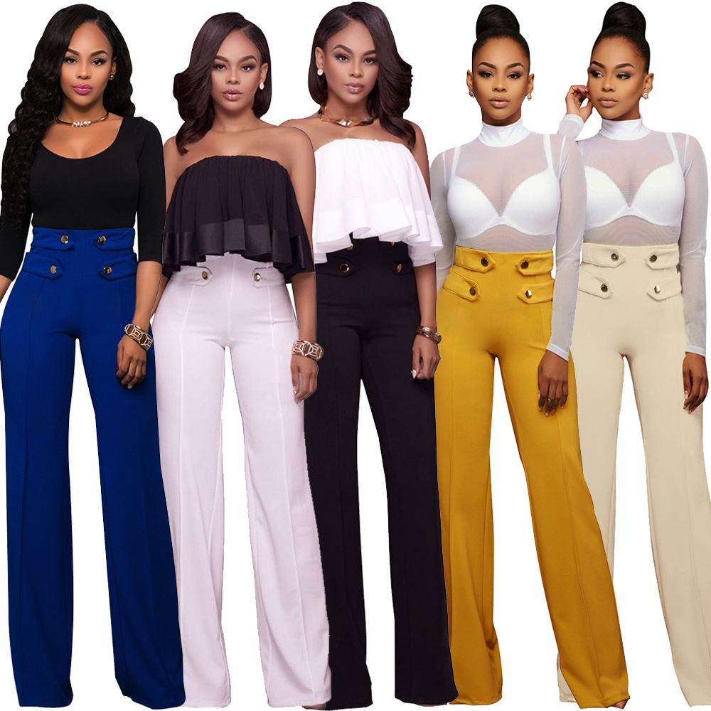 Women   Wide     Leg     Pants   Casual High Waist Solid Color Long Trousers Female Clothing Knitted Loose Button   Pants