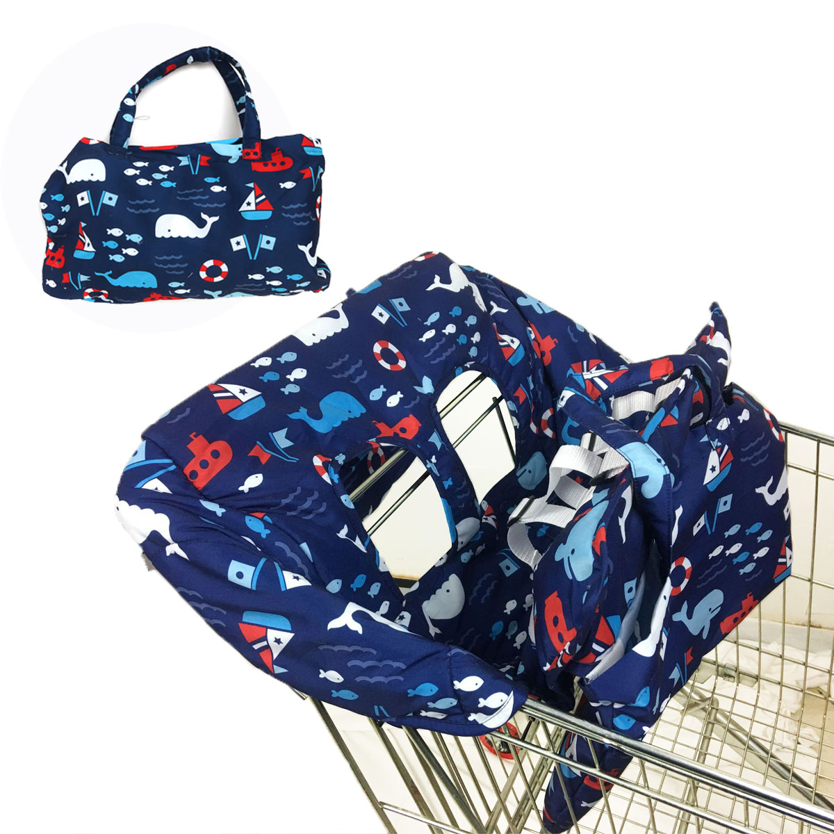 Baby Shopping Push Cart Protection Cushion Baby Chair Seat Mat Foldable Baby Kids Trolley Pad Ocean World Shopping Cart Cover Lahore