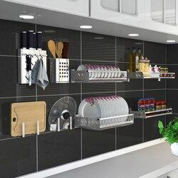 304 ze stali nierdzewnej półka kuchenna Rack Wall Hanging Free Nail kuchenny uchwyt do przechowywania wielofunkcyjny organizer do kuchni narzędzia w Półki i uchwyty od Dom i ogród na