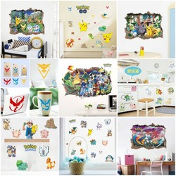 HOT Pokemon Wall Stickers For Kids Rooms Home Decorations Pikachu Wall Decal Amination Poster Wall Art Wallpaper Free Shipping