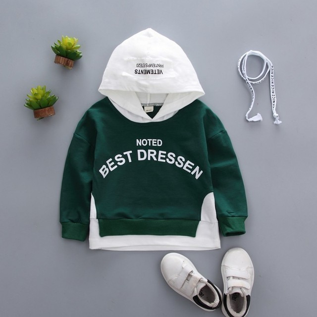 Spring Autumn Children Clothes Baby Boys Girls Cotton Leisure Hooded Sweatshirts Kids Letter Blouse Hoodies Tops For 0-5 Years