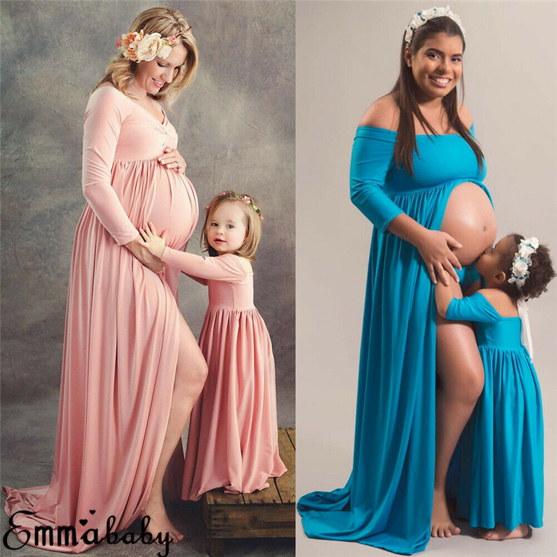 2019 Photography Prop Pregnant Women Maxi Dress Gown Maternity Mother Daughter Match Mom Dress Kids Child Outfits Mum Sister