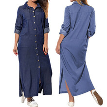 Women's Pockets Loose Swing Long Sleeve Denim Solid Dresses  Harajuku Women's Plus size Denim Dress Vestido
