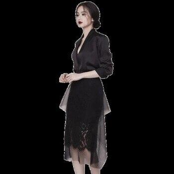 Black Lace Blazer | New 2019 Spring Autumn Women Fashion Sexy Deep V Neck  Black Blazer + Long Pleated Mesh Skirt Suit Two Piece Set