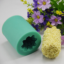Cylinder Flower Valentine Day 3D Candle Making Wedding Rose Silicone Candle Handmade Soap Mould DIY Moulds Craft Art