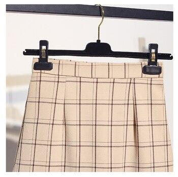 2019 primavera nueva moda coreana linterna camisas de manga larga y falda a cuadros de dos piezas conjunto ropa de mujer vestido de traje S M L