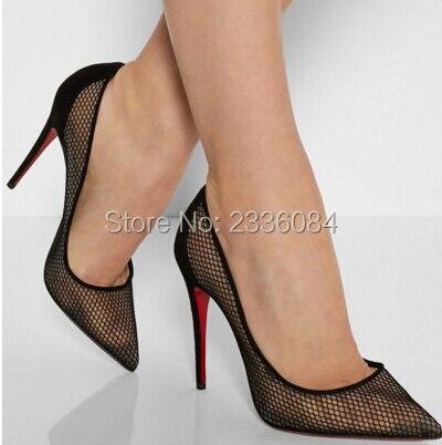 Résille Pompes Celebrity Rouge Talons Marque Pointu Chaussures Hauts Bout Bas Semelle Mode De through Super Sexy Découpes See nOgUW8x8