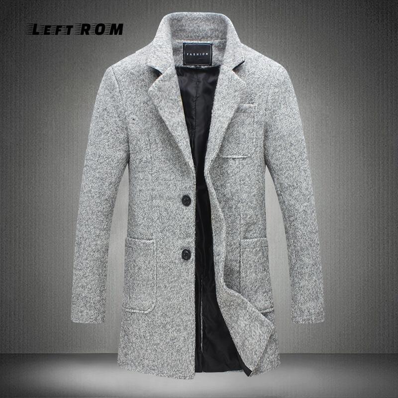 2018 Herbst Und Winter Neue Mode Boutique Einfarbig Beiläufige Geschäfts Herren Lange Woll Mäntel/mens Grau Lange Woolen Jacken üBereinstimmung In Farbe