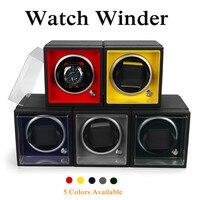 PU Leather Modular Auto Silent Mechanical Wrist Watch Winder Box Storage Case US Plug Colors Flannel Acrylic 110V 240V Quiet