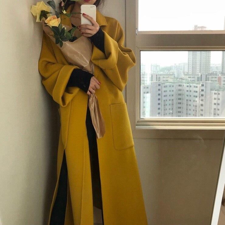 Femmes Cardigan Cachemire Nouveau Long En jaune Vêtements Coupe Lâche Solide Élégant Laine Noir 2018 Hiver Automne Manteau Ceintures 1P1qr4