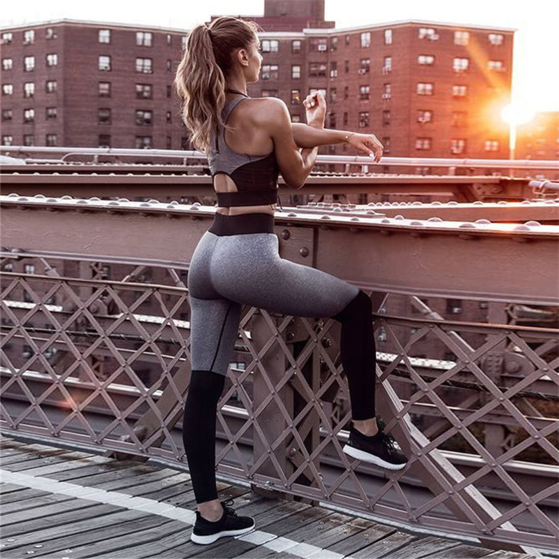 TWO PIECE SET Tank Top Workout Fitness Tracksuit Sportswear Sweat Suits Women Training Exercise Sweatsuit Stitching Leggings 2pc sexy sports bra and leggings