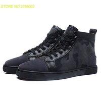 Черный с блеском высокая обувь на каблуке наивысшего качества с красной подошвой кроссовки кожаные мокасины 2018 обувь весна мужская обувь