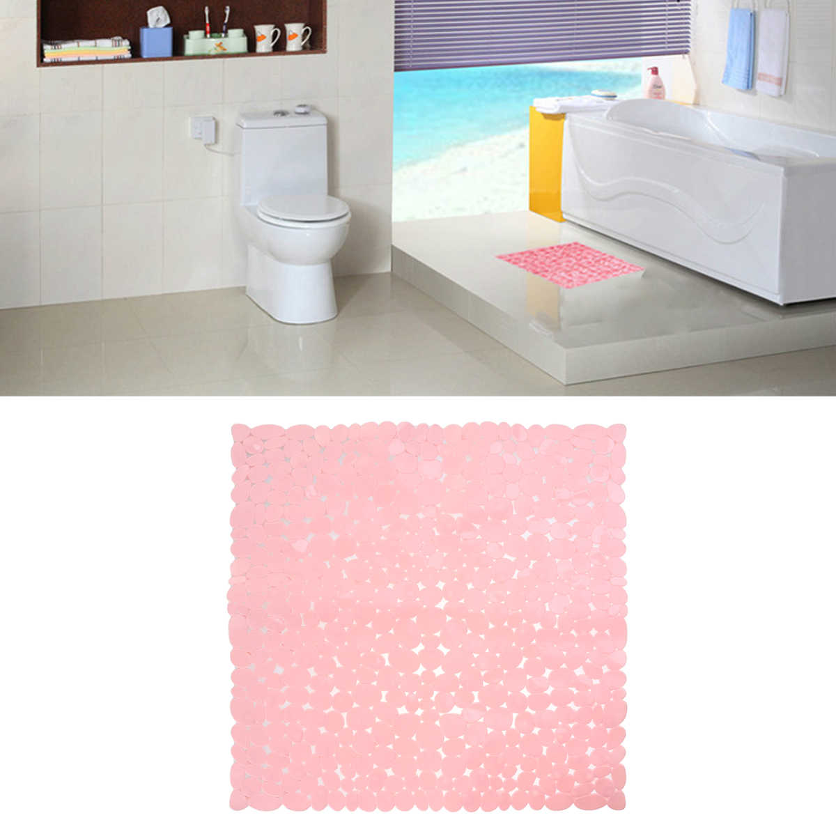 Bath Non-Slip Mat Square Cobblestone Bath Shower Safety Mats Anti-Bacterial Mildew Resistant Antiskid Mat