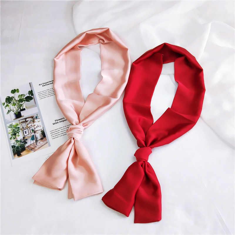 Mode bandana 2018 nouvelle couleur unie écharpe de luxe femmes marque foulards pour femmes plage châle imiter soie hijab wrap