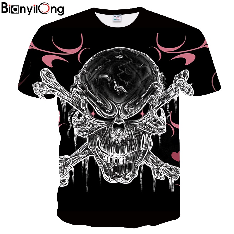 BIANYILONG 2018 new Skull&PINK 3D Printed t shirt Men Women tshirts Summer Funny Casual Short Sleeve O-neck Tops&Tees Drop Ship