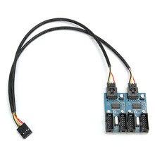 LEORY PC 9Pin หัวต่อ USB ชาย 1 ถึง 4 หญิงสาย 9 พอร์ต MULTIPLIER BOARD ใหม่