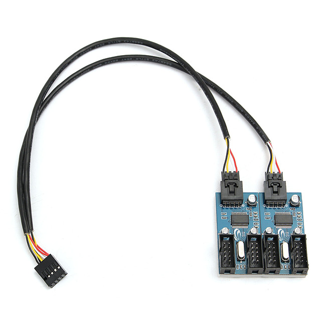 LEORY PC 9Pin USB Header Male 1 to 4 Female Extension Splitter Cable 9 Port Multiplier Board New