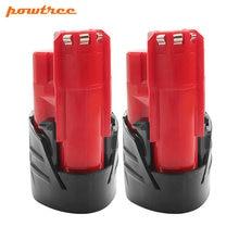 Powtree12V 2000 мАч для Milwaukee M12 литий-ионный красный литиевая Батарея обновления 48-11-2420 48-11-2401 L10