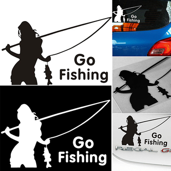 Newest 14x9cm Go Fishing Car Stickers Styling Vinyl Decal Sticker For Cars Acessories Decoration 3 sizes outdoor sports go fishing white perch car sticker window fish tank decal vinyl tape h8100