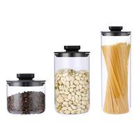 3pcs Stainless Steel Glass Sealed Can Kitchen Grain Jar Storage Can Unique Press Seal Design Kitchen Grain Cans Storage Bottle