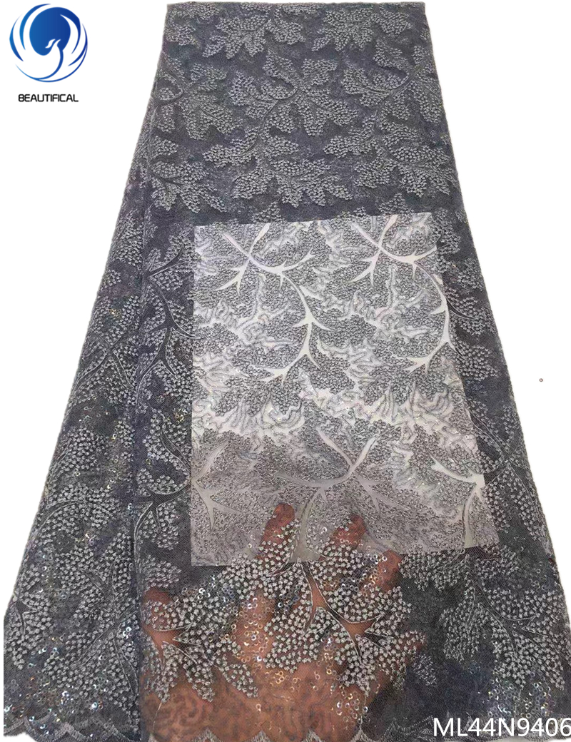 Beautifical net lace french tulle laces fabrics african fabric dress 2019 nigerian mesh laces with sequins 5yards/lot ML44N94Beautifical net lace french tulle laces fabrics african fabric dress 2019 nigerian mesh laces with sequins 5yards/lot ML44N94