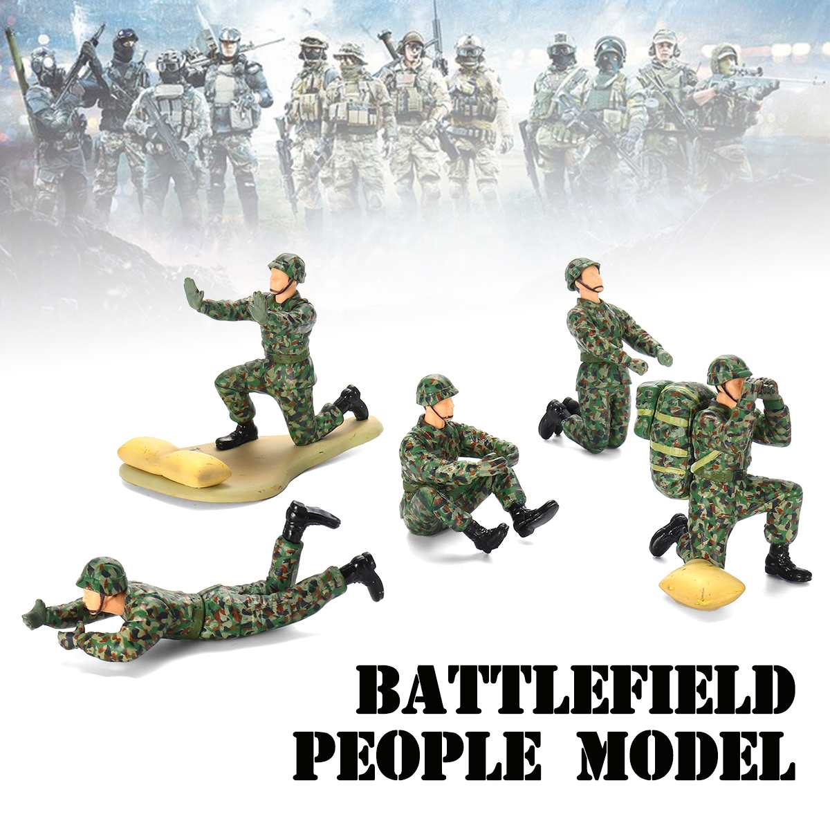5PCS Camouflage Battlefield People model Army Soldiers Figure Kids Toy Child Gift Model Building Kits5PCS Camouflage Battlefield People model Army Soldiers Figure Kids Toy Child Gift Model Building Kits