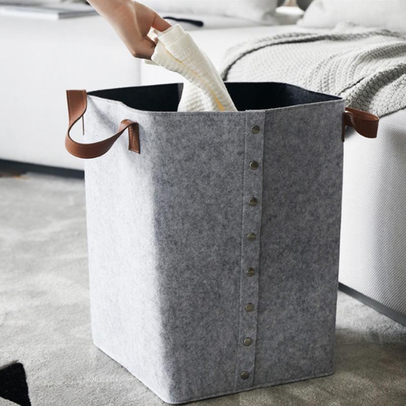 Felt Storage Basket Dirty Clothes Laundry Basket Nursery Bins Kids Toy Home Storage Basket
