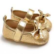 3 цвета; обувь для новорожденных девочек; мягкая подошва из искусственной кожи; нескользящая обувь принцессы с бантом для повседневной жизни; цвет РОЗОВЫЙ, золотистый, серебристый